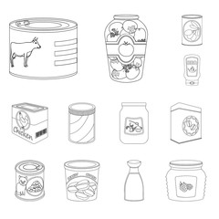Vector illustration of can and food logo. Collection of can and package stock vector illustration.