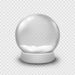 Snow globe or Christmas ball isolated on transparent background. Vector glass snowball template.