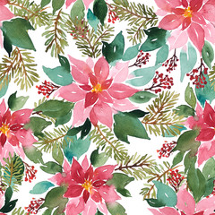 Seamless watercolor Christmas pattern with poinsettia, spruce and red berries