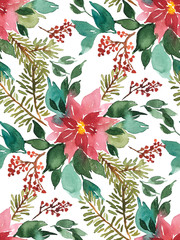 Seamless watercolor Christmas pattern background with poinsettia, spruce and red berries