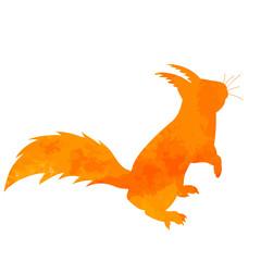 watercolor silhouette of squirrel