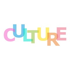 Printed roller blinds Positive Typography The word Culture. Banner with the text
