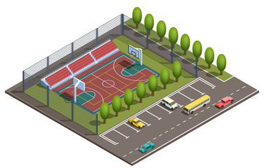 Vector 3d isometric stadium with field for basketball games, parking places for cars and road with vehicles. Sport arena with green trees near asphalt way. Isometry urban map, city concept.