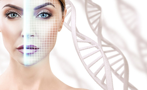 Technological scanning of face of young woman among DNA stems.