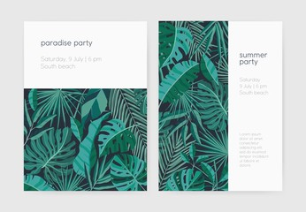Set of summer party invitation or poster templates with lush tropical vegetation, exotic leaves or jungle foliage and place for text. Vector illustration for event announcement, advertisement.