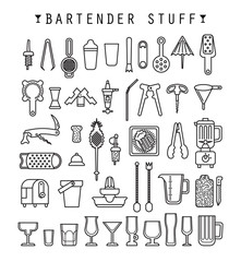 Bartender stuff. Flat design. Vector.