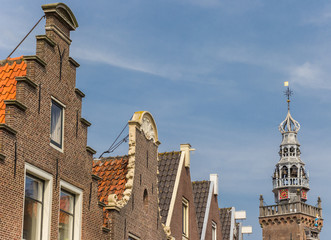 Wall Mural - Row of houses and hisotric tower in the center of Monnickendam, Netherlands