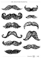 hand-drawn mustaches set, collection Printable Photo Booth Prop, vector