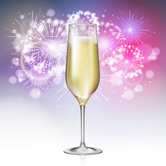 Realistic vector illustration of champagne glass on holiday golden firework background