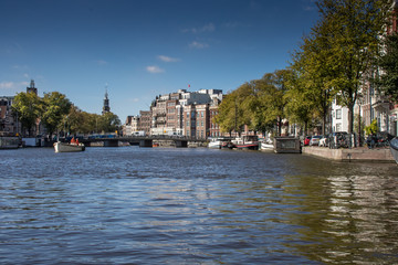 Panorama in the canals of Amsterdam, Netherlands