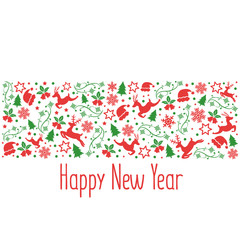 Happy New Year and Christmas background. Holidays vector illustration.