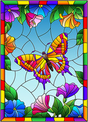 Illustration in stained glass style with a bright butterfly on a background of flowers and sky in a bright frame