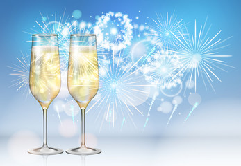 Realistic vector illustration of champagne glasses on holiday blue firework background