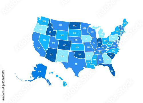 Blank similar USA map isolated on white background. United ...
