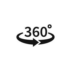 360 degree views of vector circle icons isolated from the background. Signs with arrows to indicate the rotation or panoramas to 360 degrees. Vector illustration isolated on white background.