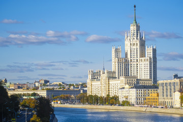 Moscow, Russia - October, 6, 2018: veiw to highrise building on Kotelnicheskaya embankment in Mosocw, Russia