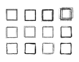 Wall Mural - Set hand drawn circle line sketch set. Square doodle for message note mark design element. Vector illustration on background.