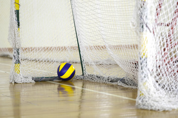 Moscow, Russia - September, 23, 2018: The image of soccer ball in a sport hall in privet Moscow school