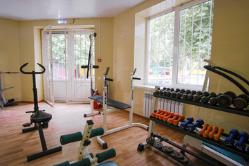 Moscow, Russia - September, 23, 2018: Interior of a fitness hall in Moscow privet school