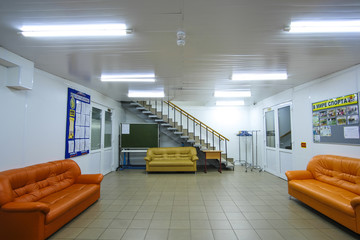 Moscow, Russia - September, 24, 2018: Interior of a modern hall in Moscow privet school