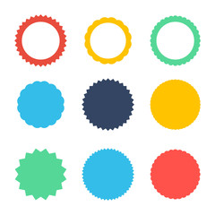 Set of vector starburst, sunburst badges. Icons on white background. Simple flat style vintage labels, stickers.