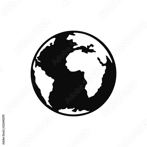 Wall mural Flat planet Earth icon. Illustration of a world globe isolated on a white background.
