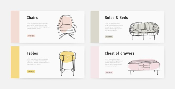 Bundle of web banner templates with various types of cozy furnishings in trendy Scandic style and place for text. Colorful hand drawn vector illustration for furniture shop advertisement, promotion.