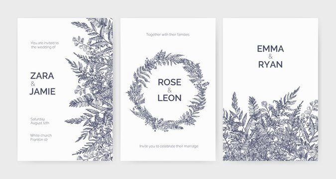 Set of trendy wedding invitation templates decorated with elegant ferns, wild herbs and herbaceous plants on white background. Monochrome hand drawn vector illustration in gorgeous retro style.