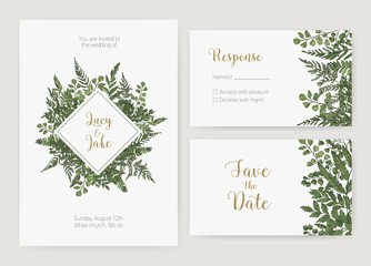 Collection of romantic wedding invitation, Save The Date and response card templates decorated with green forest ferns and wild herbaceous plants. Natural realistic hand drawn vector illustration.