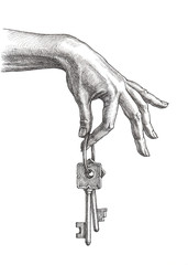 Женская рука держащая ключи, рисунок тушью.