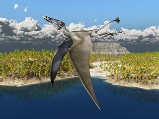Flugsaurier Dorygnathus über einer Ozean Landschaft