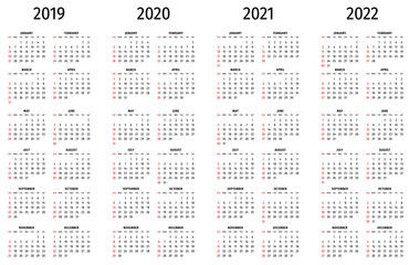 Simple calendar 2019, 2020, 2021, 2022. Simple editable vector calendar 2019, 2020, 2021, 2022 sunday first. Week starts on sunday.