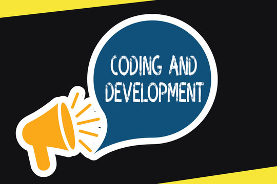 Handwriting text Coding And Development. Concept meaning Programming Building simple assembly Programs.