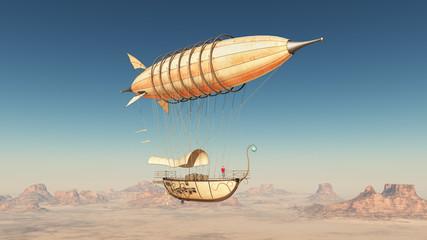 Fantasie Luftschiff über einer Wüste