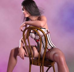Attraktive Frau in Burlesque Kleidung in sexy Pose auf einem Stuhl