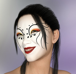 Lächelnde Frau mit Theater Make-up