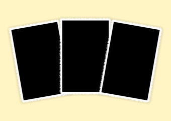 Three white vertical photo frames for photo printing
