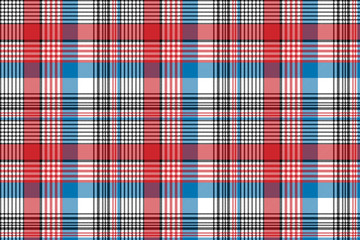 Red blue fabric texture check plaid seamless pattern