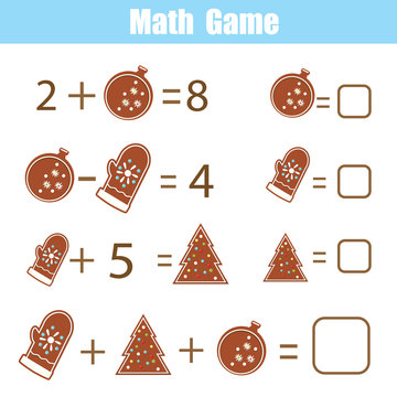 Educational game for children. Solve equations. Study Subtraction and addition