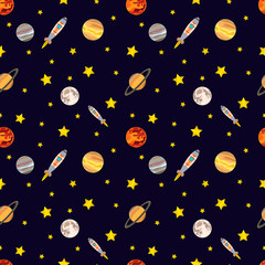 Vector Seamless Cosmos Pattern. Colorful Background, Deep Dark Background with Stars.