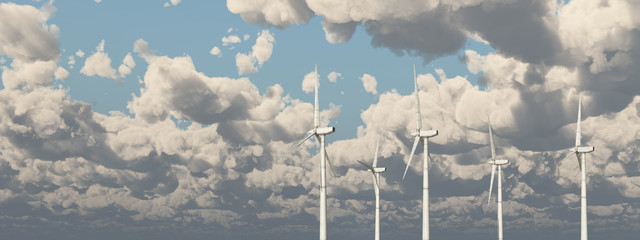 Wind turbines against a cloudy sky