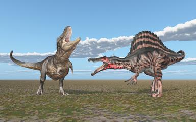 Tyrannosaurus Rex und Spinosaurus