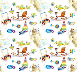 Baby seamless pattern. Toys and objects of care. Watercolor hand painted illustration