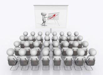 Geschäftspräsentation mit Bildwand und 3D Figuren