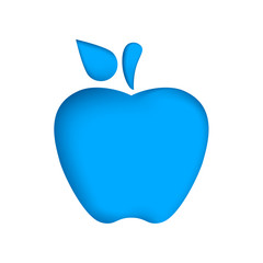 Paper apple on the blue background. Vector eps 10