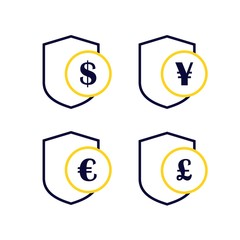secure payment coin shield dollar yen yuan poundsterling euro logo vector icon set