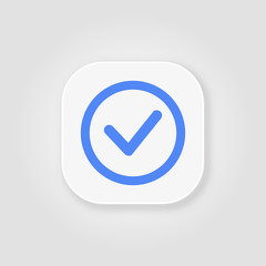 Valid Seal icon. Blue tick in blue circle. Flat OK sticker icon.