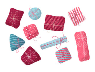 Vector set of various flat Christmas or Birthday gifts.