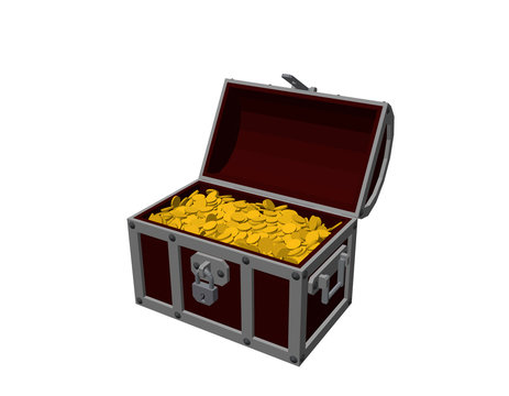 Opened wooden chest with golden coins. Isolated on white background.