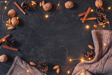 Cozy winter festive background with luminous garland